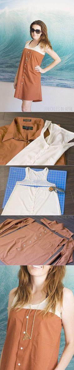 Amazing Sewing Patterns Clone Your Clothes Ideas. Enchanting Sewing Patterns Clone Your Clothes Ideas. Shirt Refashion, Diy Shirt, Diy Clothing, Sewing Clothes, Men Clothes, Dress Clothes, Diy With Old Clothes, Dress Shirts, Refashioning Clothes