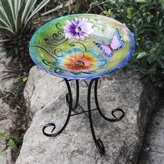 Butterfly with Flower Bird Bath with Stand