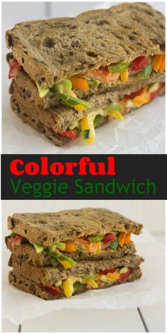 VEGGIE SANDWICH | WITH COLORFUL PEPPERS, TOMATOES, AND CUCUMBERS Can't believe Vegetable Sandwich can taste this good :)