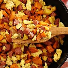 Ham, Apple & Sweet Potato Scramble Recipe. Great with leftover ham!