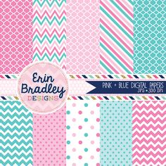 Pink and Blue Digital Paper Pack Graphics with Quatrefoil Polka Dotted Chevron & Striped Patterns