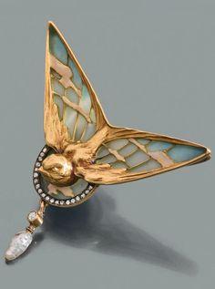 Lucien Gautrait - An Art Nouveau gold, plique-à-jour enamel, diamond