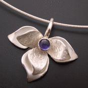 Silver Lotus Pendant with Iolite
