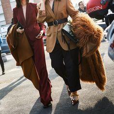 JULIELINGMA · Burgendy Red Pant Suit, Slouchy Pants, Fur Coat