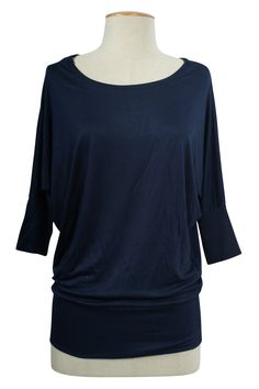Wide Scoop Neck Banded Batwing Dolman Sleeve Knit Top Slouchy Jersey TeeRegular Shirt