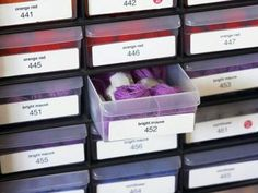 Hit the hardware store for useful storage containers. The small drawers meant for nails make great receptacles for embroidery thread. Create labels for the small drawers.