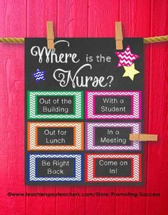 Good for classroom use. School Counselor: This printable poster/sign would be great for a school counselor's office door. It features chalkboard background with color chevron boxes: Where is the Counselor? School Nurse Office, School Counselor Office, Counseling Office Decor, Psychologist Office, School Social Work, School Counseling, Classroom Decor, School Nursing, School Classroom