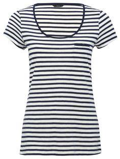 M&Co. Women Stripe scoop neck t-shirt