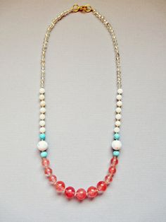 Pink and Turquoise Bead Necklace