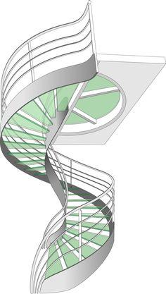 Dessin étude Escalier Design Hélicoïdal en Verre