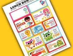 5 Printables for School Lunchbox Notes
