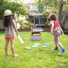 Take aim and toss! This simple game starts with a repurposed cardboard box and gets kids of all ages into the action!                         1. Cut a rectangular hole on both sides of a cardboard box. You want the hole large enough to comfortably fit your Frisbee.                         2. Decorate the box with colorful tape, paper, or paint.                         3. Grab a bunch of Frisbees, and off you go!