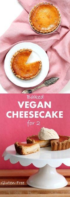Easy Vegan Cheesecake. Baked Vegan Cheesecake Recipe with Cashews and non dairy yogurt. Glutenfree Vegan Cheesecake. #Soyfree #Glutenfree #Recipe | VeganRicha.com