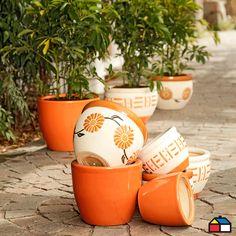 #Maceteros cerámica variedad diseños #Jardin #Terraza Planter Pots, Backyard, Garden Design, Decks, Patio, Backyards, Plant Pots