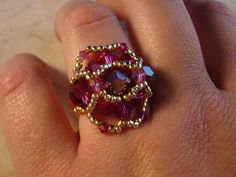 Crusader Ring: Designed by Marielle Elroy.   This ring was made from the Beautiful Beaded Rings book.