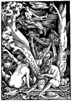 Hans Baldung Grien (c. Witches' Sabbath, Chiaroscuro woodcut, 14 x 10 in. Chiaroscuro, Hans Baldung Grien, Gravure Photo, Maleficarum, Renaissance Kunst, Traditional Witchcraft, Arte Obscura, Drawn Art, Occult Art