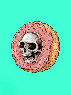 Skull Donut Art Print