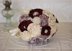 Vintage Inspired Fabric Flower Bouquet, Lace Bridal Bouquet, Cream, Dusty Pink and Burgundy Brooch Wedding Bouquet