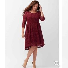 Lace dress Plus size burgundy lace dress. Lane Brayan size 18 . Posted size chart for measurements . In awesome conditions , only used once for Holiday party Lane Bryant Dresses High Low