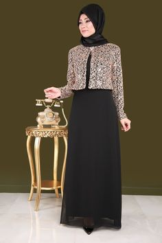 Ceketi Pul Payet 2'li Şifon Abiye  Siyah Ürün kodu: CNG2943-S--> 134.90 TL