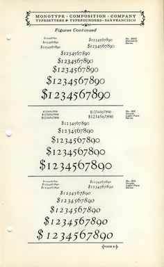 This vintage font specimen showcases Kennerly and Goudy Light Face old style figures.