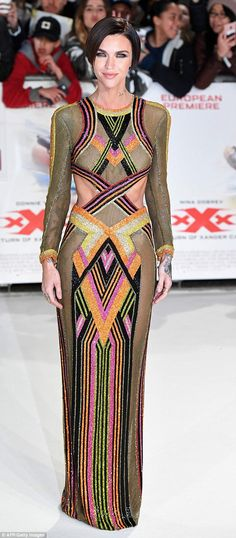 Hitting the big time: Ruby Rose revealed her slender frame in a colourful cut-out gown at the xXx: Return of Xander Cage London premiere on Tuesday evening