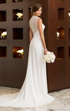 Essense of Australia Style D1611. Chiffon wedding dress features sparkling botanical beading on the cap sleeves and illusion jacket. #EssenseBride #WeddingDress
