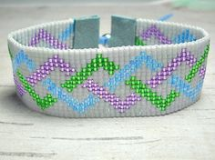 Blue Green and Violet braid Loom Bead door BeadWorkBySmileyKit