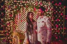This gorgeous couple have flowers showered on them! Desi Wedding Decor, Wedding Shoot, Wedding Photography Tips, Candid Photography, Haldi Ceremony, Wedding Ceremony, Wedding Company, Cocktail Gowns, Wedding Details