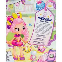 Meet Bubbleisha the bubble gum themed SHOPPIES from shopkins! They will be available starting October in US stores, but they have already been spotted on TRU shelves in California! Shopkins Bubbleisha, Shopkins Season 1, Shopkins World, Shoppies Dolls, Shopkins And Shoppies, Moose Toys, 7th Birthday, Birthday Ideas, Monster High Dolls