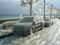 Ice storm 98 - as I recall this is a car left parked on Lakeshore Drive in Chicago, IL - the Southern Extreme of Lake Michigan, it is the worst place on the lake, to be in a storm.- the winds come straight the largely unfrozen lake driving large storm waves before them. The Lake does freeze around the shores, particularly near Chicago where the water is shallower. When waves and wind hit the ice, it smashes into flows and is driven onshore with the wave and water. This is why there is no…