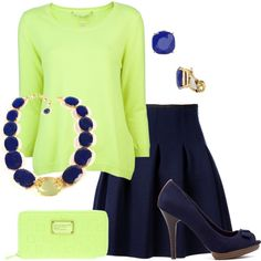 """Chartreuse and Navy"" by kswirsding on Polyvore"