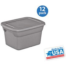 storage bins for nursery closet for when little noah grows out of this sterilite tote titanium set of 12 - Sterilite Storage Bins