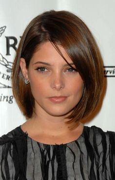Ashley Greene asymmetrical cut with messy part: http://beautyeditor.ca/2014/09/25/haircut-after-donation
