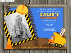 Printable Boys Road Construction Birthday Photo Invitation | Dump Truck | Boys Birthday Party Idea | FREE Thank You Card Included - Printable - Become a loyal fan on Facebook to receive freebies and see the latest designs! www.facebook.com/DazzleExpressions