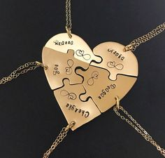 14 Karat yellow Gold filled Hand engraved heart puzzle necklaces, shaped like a heart - perfect for 5 people, friendship, BFF, five, , gold, by InspiredByBronx on Etsy https://www.etsy.com/listing/510648015/14-karat-yellow-gold-filled-hand