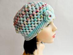 Baby Blue Puff Stitch Beanie Baby Blue, Crochet Hats, Beanie, Stitch, Fashion, Knitting Hats, Moda, Full Stop, Fashion Styles