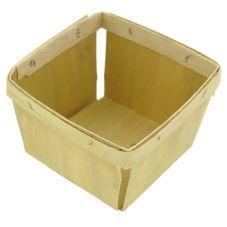 Texas Basket Co. Natural Square 1 pt Berry Basket 830 | Wooden Basket - Wasserstrom Restaurant Supply