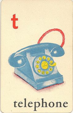 """T"" is for Telephone ~ Vintage Children's Flash Card"