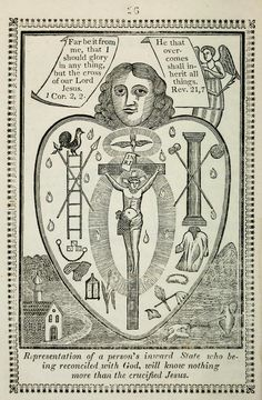 The Heart of Man; Either a Temple of God, or a Habitation of Satan; Represented in Ten Emblematical Figures Catholic Art, Religious Art, Vintage Prints, Vintage Posters, Christian Mysticism, Esoteric Art, The Cross Of Christ, Dope Wallpapers, Heart Illustration