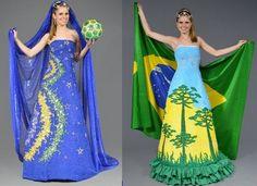 Noivas Caipiras no São João da Copa - Confira ideias de trajes juninos em verde e amarelo com inspiração na copa do mundo