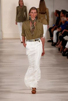 Come on a Safari With Ralph Lauren: When you're greeted in the lobby of Ralph Lauren's Spring 2015 show by an exotic floral arrangement, you know you're in for something transportive.