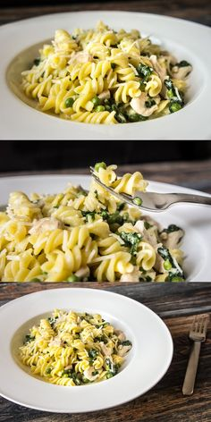 Chicken fusilli with spinach and green peas