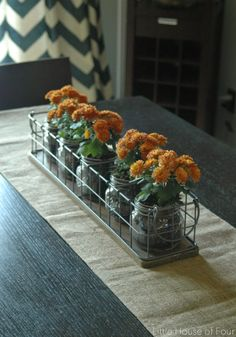 Little House of Four: Fall Home Tour - I LOVE this wire basket!