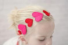 Valentines Headband with Red and Pink Hearts via Milchundhonig on Etsy.