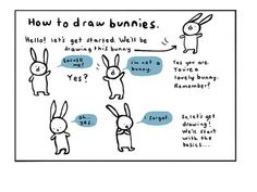 Cool and easy way to draw a bunny.    From MyHouseRabbit.com
