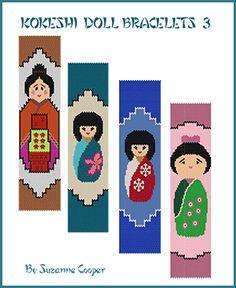 Kokeshi Doll Bracelets Pattern 3 at Sova-Enterprises.com