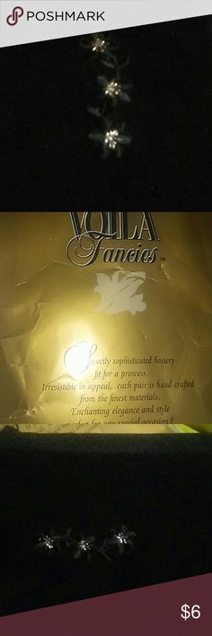 NWT Girls Flowers&Diamonds Tights/14 New big girls tights/pantyhose. Girls XL size 14.  Pretty embroidered black flowers by ankle area, flowers have a shiny silver center. Every pair is handcrafted so not one pair of these beautiful tights are the same!! Voila Fancies Accessories Socks & Tights