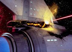 Direct phaser hit by Khan and the Reliant on the Enterprise in Star Trek II: The Wrath Of Khan, 1982.