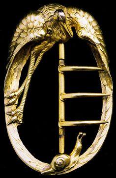 Arthur-Eugene Archambaut - Heron & Snail Belt Buckle. Gilt Sterling Silver. France. Circa 1900.